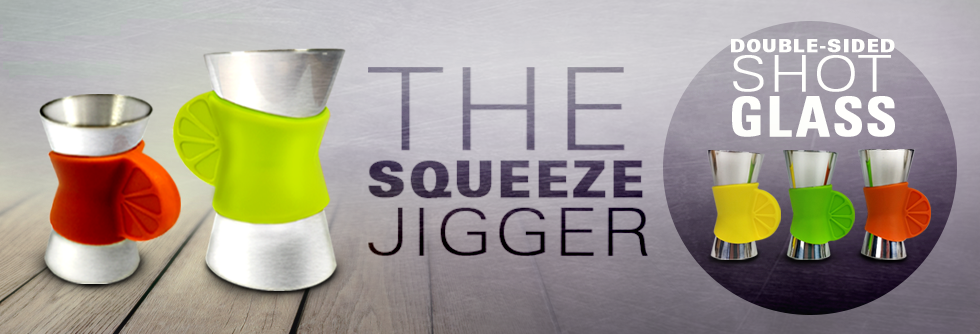 The squeeze jigger shot glass for cocktails